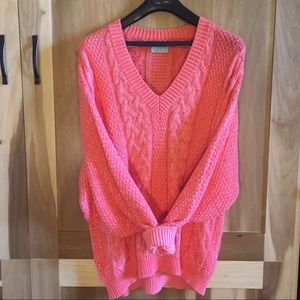 Vintage Benetton Plus Sz Coral Cable Knit Sweater